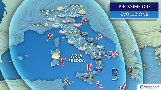 Meteo Italia: situazione prevista per le prossime ore