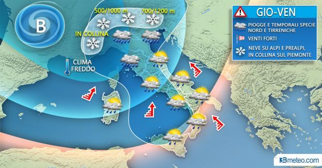 Meteo Italia: situazione prevista tra giovedì e venerdì