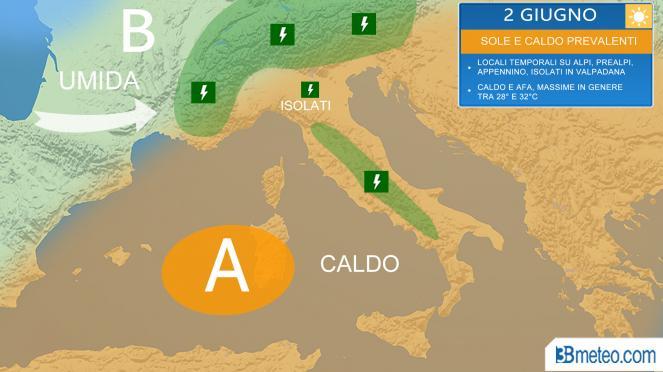 Meteo Italia, situazione prevista venerdì 2 giugno