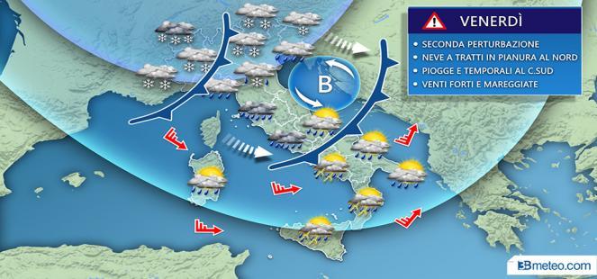 Meteo Italia: situazione venerdì