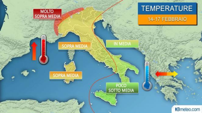 Meteo Italia: temperature anomale nei prossimi giorni al Centronord