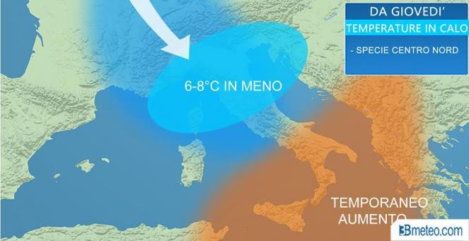 Meteo Italia: temperature in calo deciso al Centronord entro venerdì