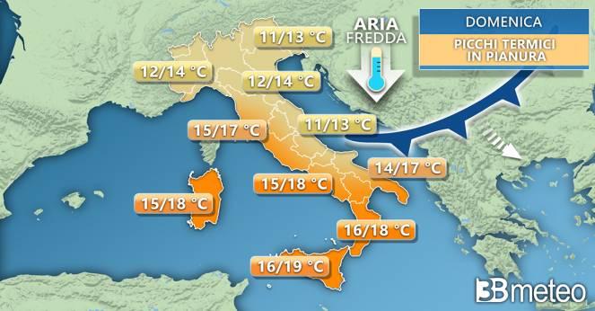 Meteo Italia: temperature massime previste domenica