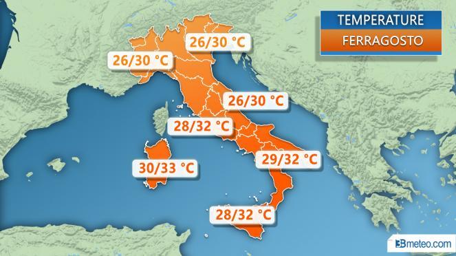 Meteo Italia: temperature previste per Ferragosto