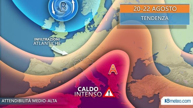 Meteo Italia: tendenza per il periodo 20-22 agosto