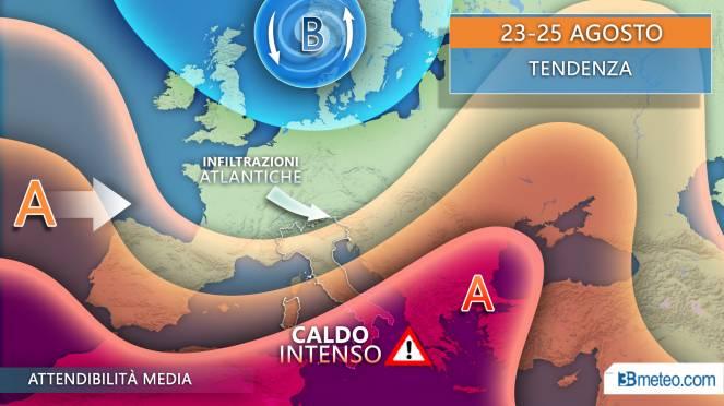Meteo Italia: tendenza per il periodo 23-25 agosto