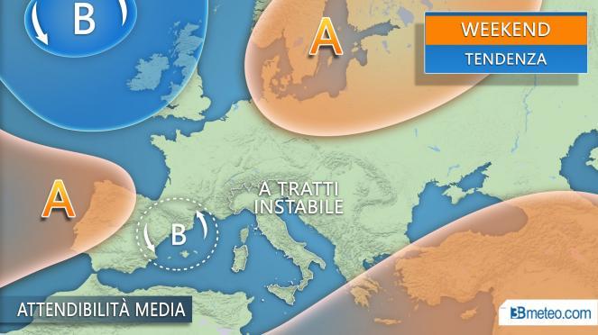 Meteo Italia: tendenza weekend