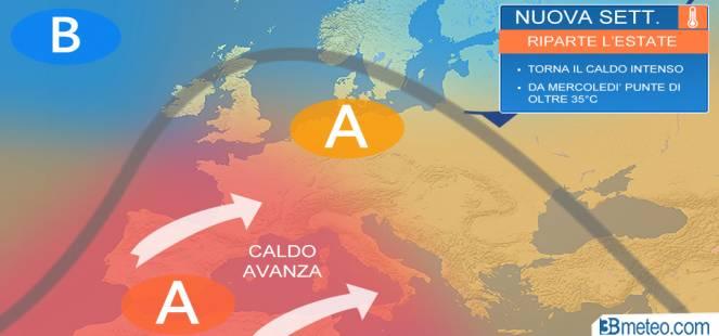 Meteo Italia: torna il caldo