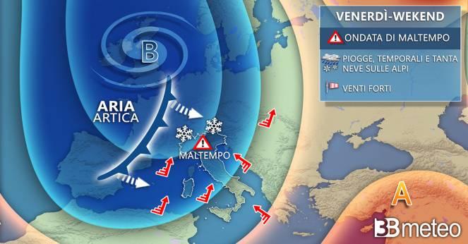 Meteo Italia: tra venerdì e il weekend nuova ondata di maltempo