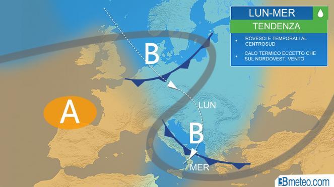 Meteo Italia: traiettoria dell'impulso fresco dal Nord Europa
