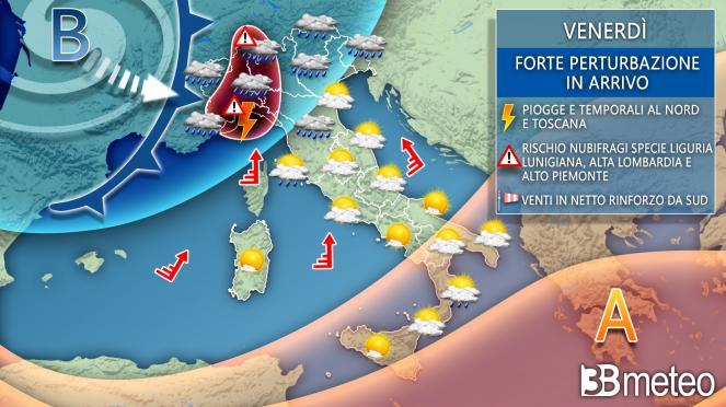 Meteo Italia: venerdì forte maltempo al Nord e in Toscana