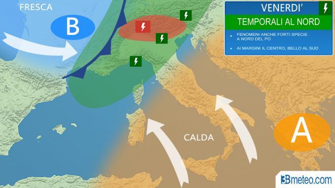 Meteo Italia: venerdì passata temporalesca al Nord, in parte al Centro
