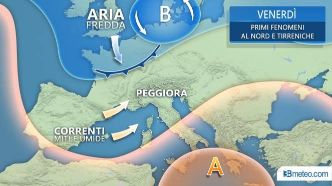 Meteo Italia: venerdì primi segnali di peggioramento