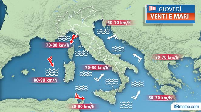 Meteo Italia: venti anche di tempesta tra mercoledì e giovedì