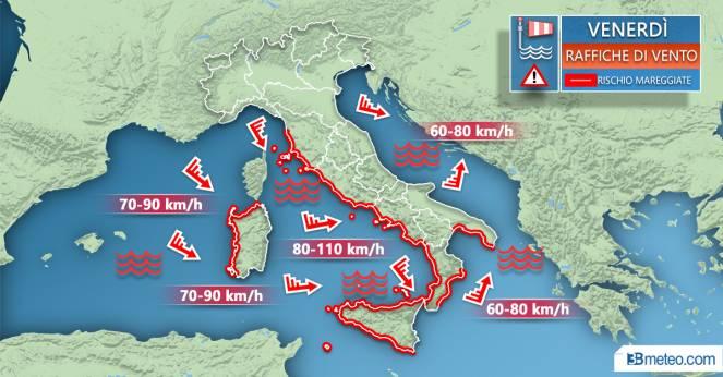Meteo Italia: venti previsti venerdì