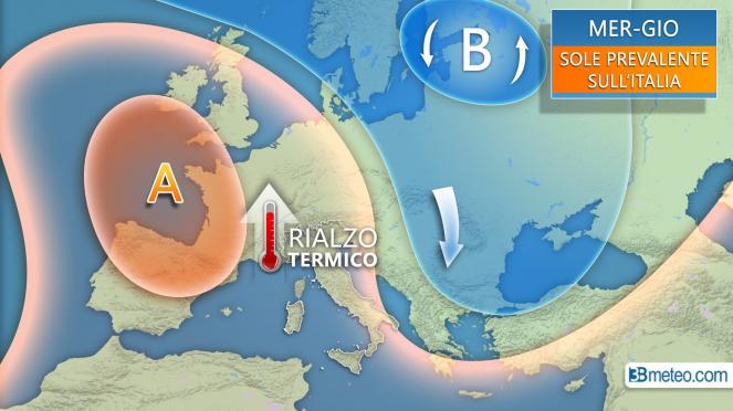 Meteo: la situazione prevista tra mercoledì e giovedì in Italia ed Europa