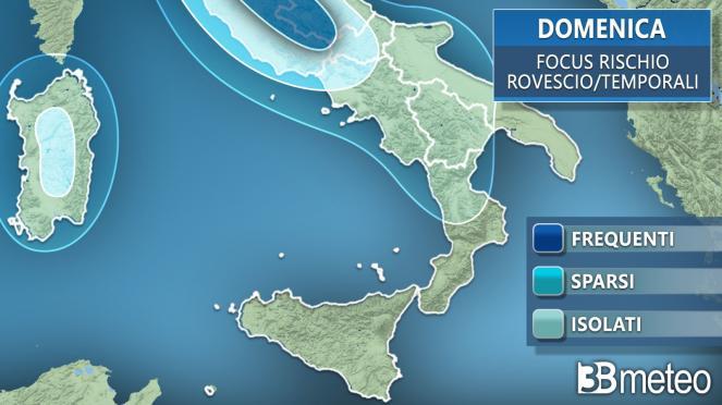 Meteo: le aree a rischio locali rovesci domenica al Sud