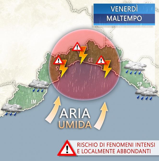 Meteo Liguria: venerdì rischio forti temporali