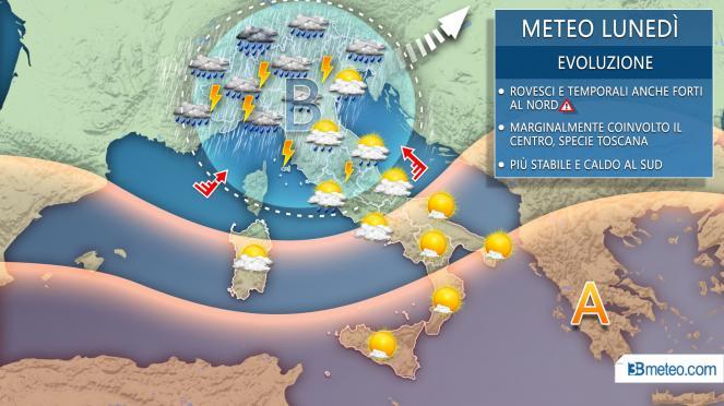 Meteo lunedì, maltempo sul nord Italia