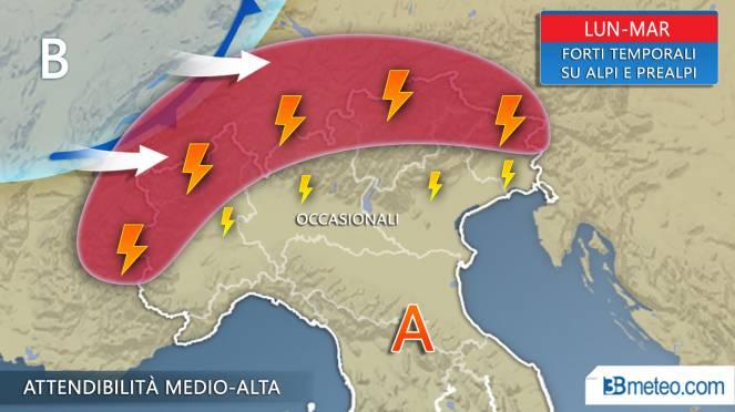 Meteo lunedì martedì, forti temporali sulle Alpi, solo occasionali in Val padana