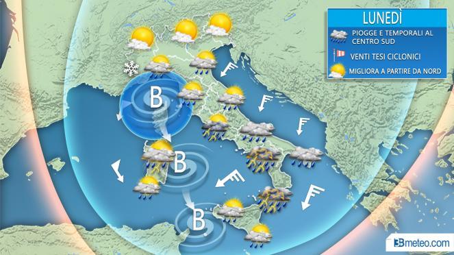 Meteo lunedì, nuova fase di maltempo per l'Italia con clima autunnale