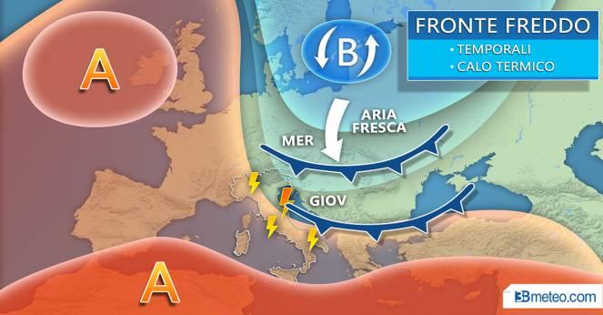 Meteo mercoledì-giovedì: fronte freddo dal Nord Europa raggiunge l'Italia