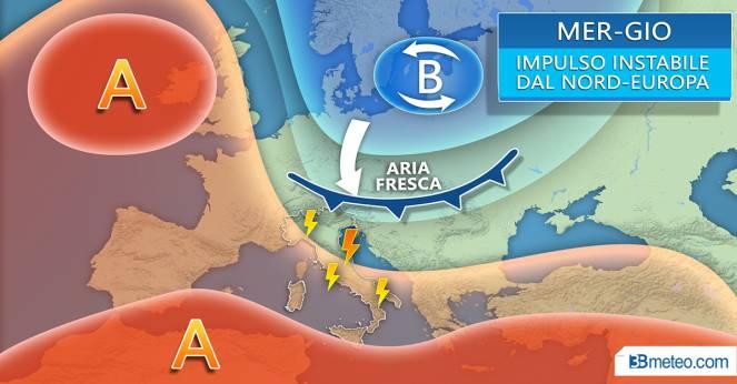 Meteo mercoledì-giovedì: fronte freddo raggiunge l'Italia