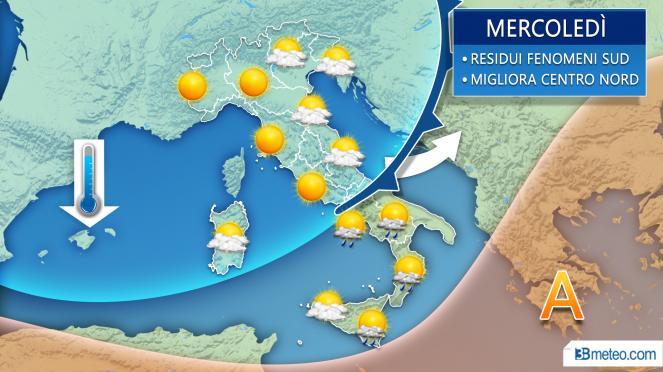 Meteo mercoledì, residue piogge al Sud, più sole altrove