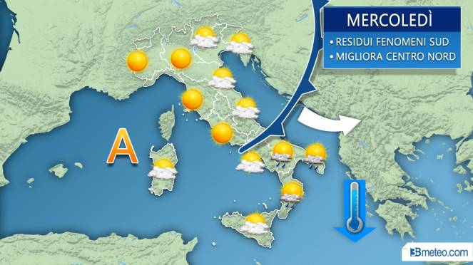 Meteo mercoledì, soleggiato al Centro Nord, residue piogge al Sud