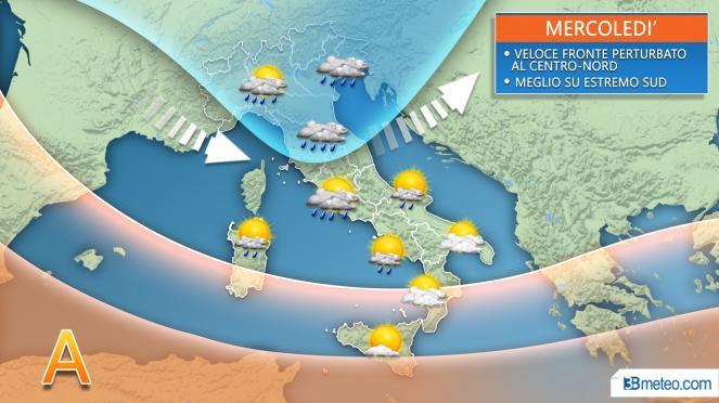 Meteo mercoledì, transita il nuovo fronte con piogge e rovesci