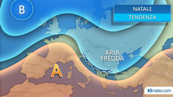 Meteo Natale tra alta pressione e infiltrazioni più fredde da est