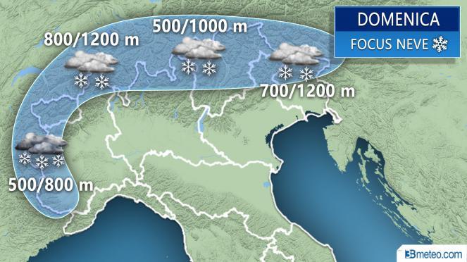 Meteo neve Alpi domenica