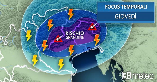 Meteo Nordest: giovedì rovesci e temporali anche forti