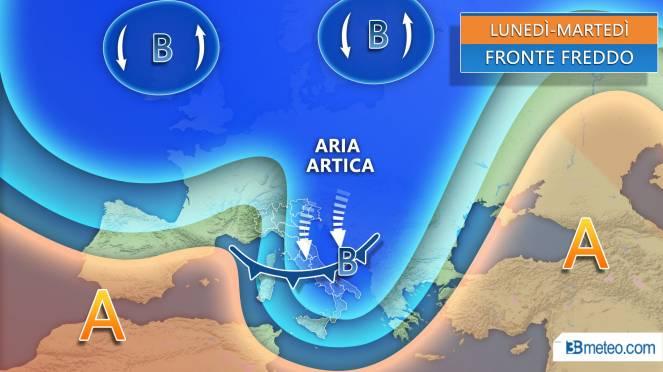 Meteo nuova settimana, fronte artico raggiunge l'Italia portando venti forti, pioggia neve e più freddo