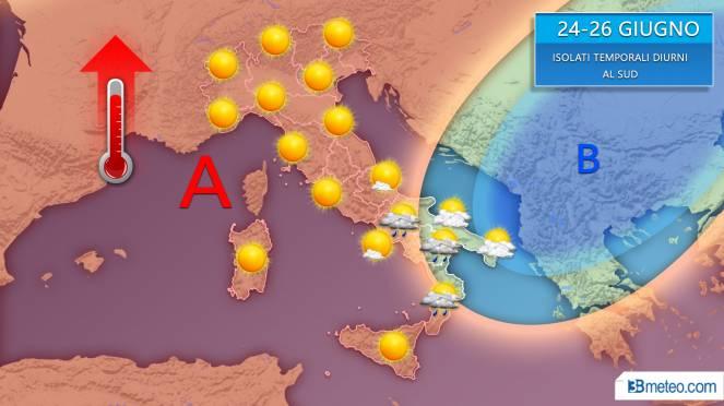 Meteo nuova settimana, gran caldo ma anche qualche temporale al Sud