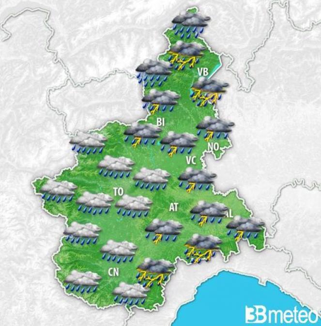 Meteo Piemonte, maltempo nelle prossime ore e nella giornata di lunedì