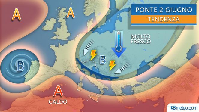 Meteo ponte dei 2 giugno, tempo a tratti instabile e temporalesco sull'Italia
