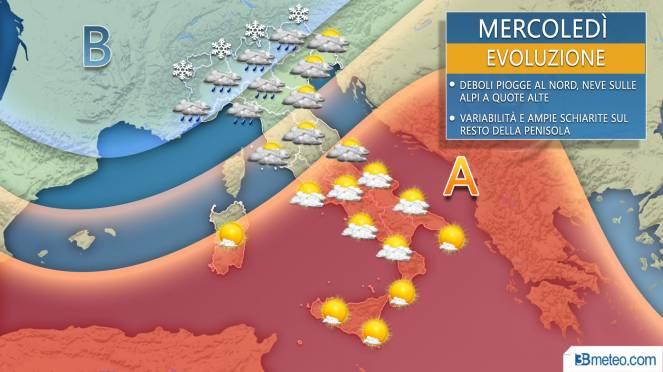 Meteo precipitazioni per mercoledì