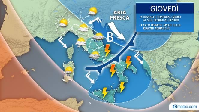 Meteo previsioni grafiche per giovedì