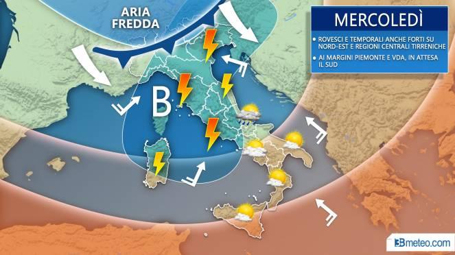 Meteo previsioni grafiche per mercoledì