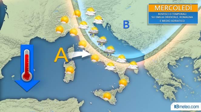 Meteo, previsioni per la giornata di mercoledì 14 agosto