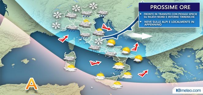 Meteo prossime ore: locali piogge e nevicate