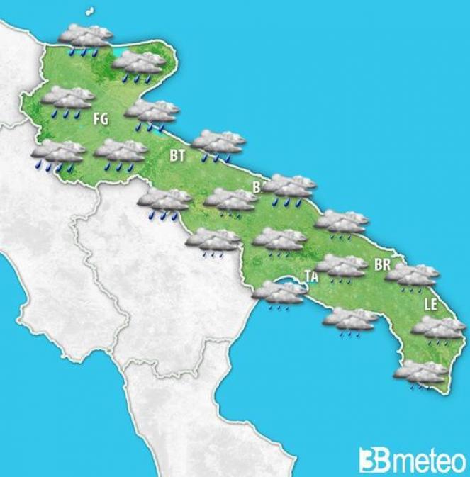 meteo Puglia, torna la pioggia