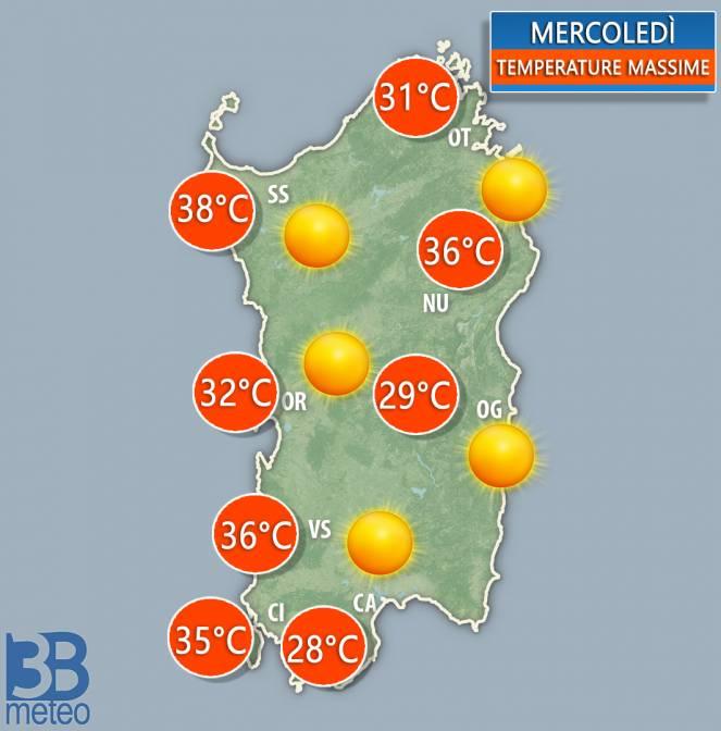 Meteo Sardegna. Temperature massime previste mercoledì 26 giugno 2019
