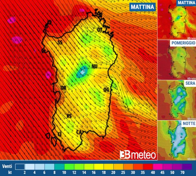 Mappa Km Sardegna.Meteo Sardegna Allerta Vento Sull Isola Raffiche Fino Ad