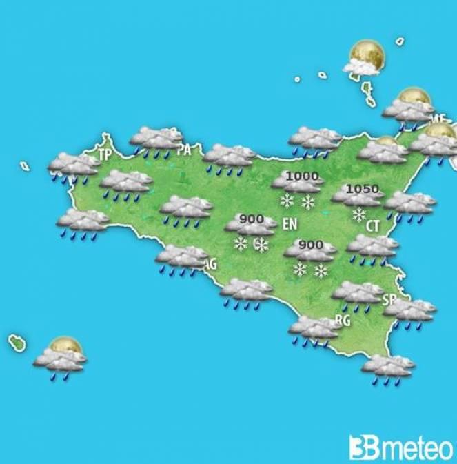 Meteo Sicilia forte maltempo tra mercoledì e giovedì con venti di tempesta, pioggia e neve fino a quote di collina
