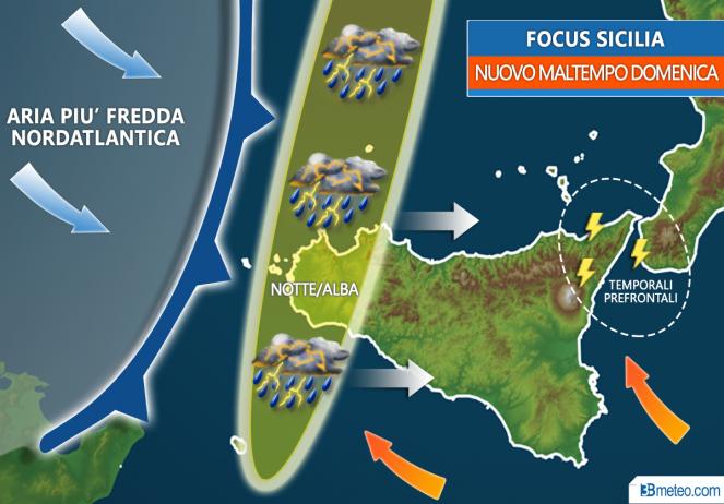Meteo Sicilia: tornano piogge, temporali, forti venti