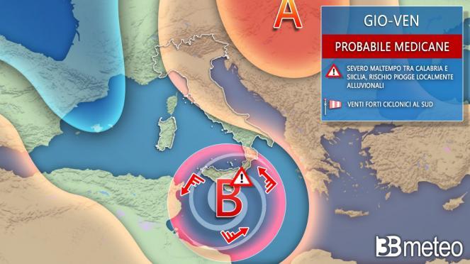 LIVE Meteo: rischio Medicane (possibile Uragano nel Mediterraneo) al sud 27/28 ottobre