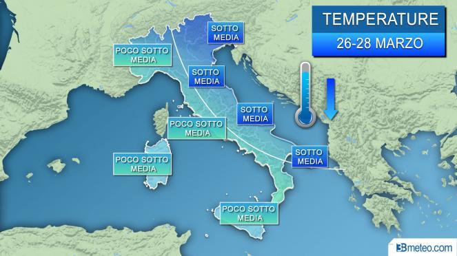 Meteo temperature in gran parte sotto media per la prima metà della nuova settimana