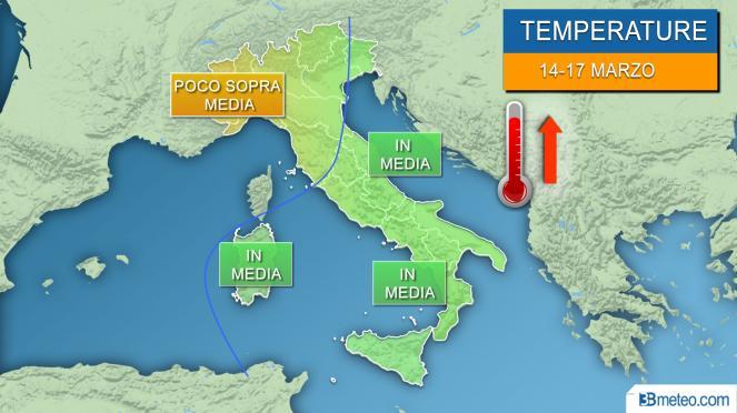 Meteo temperature italia periodo 14-17 marzo
